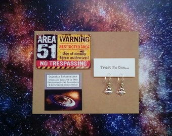 Area 51 Magnet with UFO Earrings, Alien, UFOS, Funny gifts, Nerd gift, Spaceships