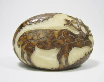 Tagua Nut Relief Carving - Moose (1153-C451)