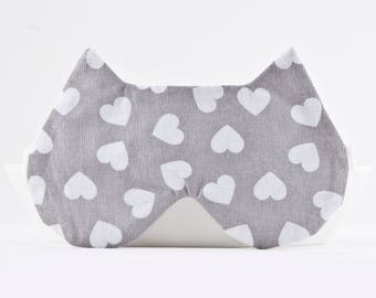 Heart Print Sleep Mask, Best travel gifts, Gray Lingerie, Cat Lover Gift, Girlfriend Gift, Best mother's day gifts