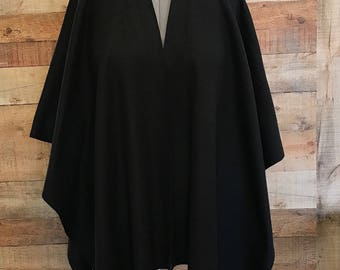 "Fleece Ruana Shawl Wrap 50"" X 65"" Misses Onesize Edge Topstitching Black Color Handmade with or without pockets"