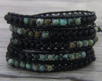 Black wrap bracelet African Turquoise & Black agate bead bracelet 5 wraps bracelet leather bead bracelet boho bead wrap bracelet SL-0467