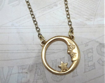 Moon and Star Necklace Celestial Crescent Moon Vintage Brass Man in the Moon Necklace Pendant Jewelry Gift
