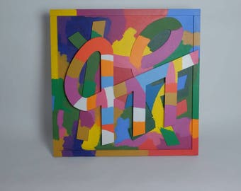 """Abstract colorful wooden wall painting """"Prilep"""" 1990 by C.L. Francke"""