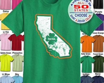 California Home State Irish Shamrock  T-Shirt - Adult Unisex - We carry sizes S - 5XL in 30 Colors!