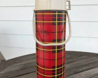 Vintage red plaid Thermos by King-Seeley, 1964, #2442