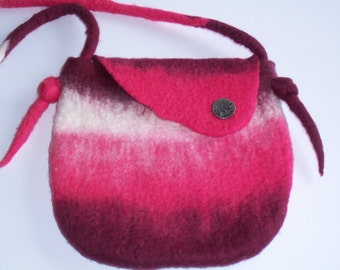Hand Felted Bag in Neopolitan Colors, Purse, Over the Shoulder