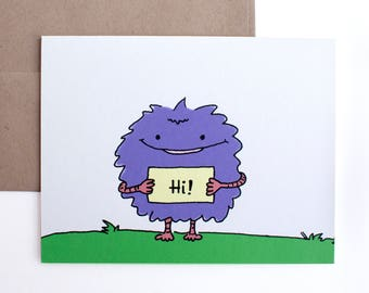 Fuzzy Purple Monster Card – Hello Card – Thinking of You Card – Any Occasion Card
