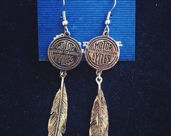 SALE! Harley-Davidson • vintage feather emblem earrings