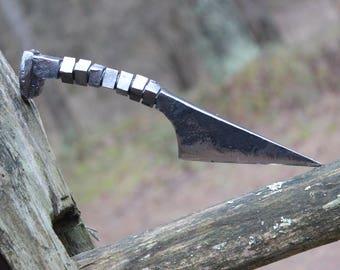 Railroad Spike Knife, railroad spike art, hand forged knife, personalized knife, hunting knife, blacksmith knife, engraved knife, item K1