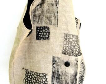 handmade shoulder bag   ...  bucket  bag   ...   tote  ...  hand made hemp bag  ...   carry all   ... vintage