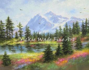 Mountain Painting PRINT Mt. Shuksan Washington wilderness, mountain lake painting, mountain landscape Vickie Wade Art