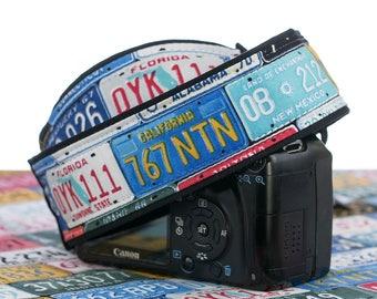 dSLR Camera Strap, License Plates, Car Tags, Auto, Mens Camera Strap, Photographer Gift, Camera Accessories Canon Nikon Camera strap, 167 ww
