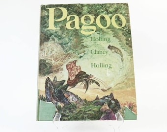 Vintage 1950's Childrens Science Book, Pagoo by Holling Clancy Holling, 20 Illustration Full Color Plates, Hermit Crab Story, copyright 1957