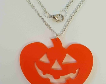 Halloween Pumpkin Necklace - Acrylic