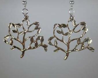 Goldish tree dangle earrings
