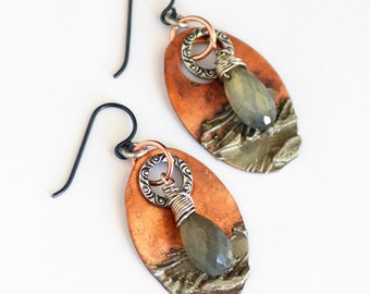 Stormy Seas: Labradorite and Stamped Silver Copper Earrings, Rustic Gemstone Boho Earrings, Rustic Earrings, Mixed Metal, Niobium Wire,SRAJD