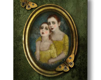 Sisters Moth Yellow Green Portrait Print Digital Art Gold Surreal Home Decor Halloween Goth