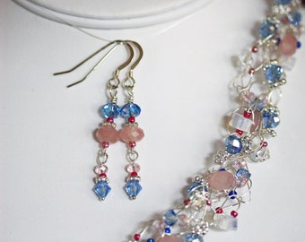 Wire Crochet Necklace & Earrings Set in Rose Quartz, Opalite, and Sapphire Crystal   PTJ384