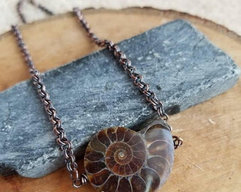 Ammonite Pendant, Fossil Jewelry, Copper and Ammonite Necklace, Swirl Ammonite Jewelry, Bohemian Jewelry, Simple Ammonite, Snail, Nature