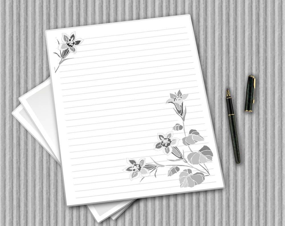 Printable Flower Paper Digital Stationery Floral Notepaper