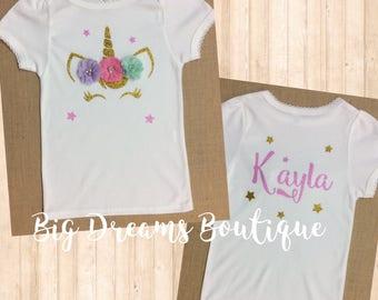 Unicorn Birthday Shirt, Pastel Colors Unicorn Headband, Gold and Pink Unicorn Headband, Unicorn Photo Prop