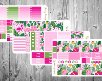 Tropical Flamingo Planner Stickers Monthly Kit | Erin Condren Full Planner Sticker Kit | Pink Planner Stickers | Tropical Planner Stickers |