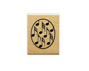 MUSIC NOTES oval collage mounted rubber stamp, Sweet Grass Stamps No.10