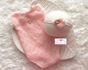 Pippa Romper Set, Newborn Pink Romper. Newborn Photo Props, Newborn Romper, Baby Photography Prop, UK Seller