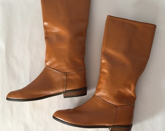 OCHRE BROWN leather riding boots | 1970s made in France boots | size