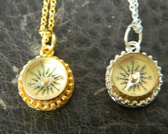 Cute Little Compass Necklace.Mini Working Brass Compass.Silver Plated.18K Gold Plated.