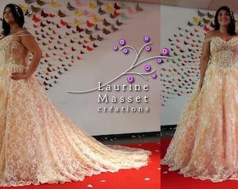 Princess wedding dress lace nude Anita