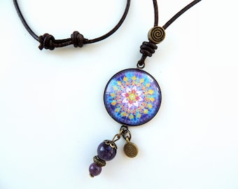Healing Crystal Necklace Celestial Necklace Purple Mandala Necklace MELODY of the STARS MANDALA Jewelry Healing Jewelry Healing Necklace