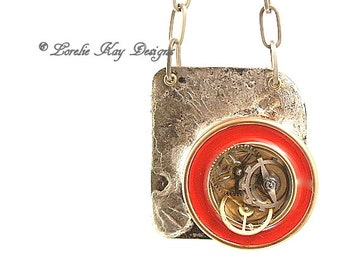 Edgy Modern Steampunk Necklace Copper Resin Necklace Flood Soldered Watch Parts One-of-a-Kind Handmade Copper Pendant