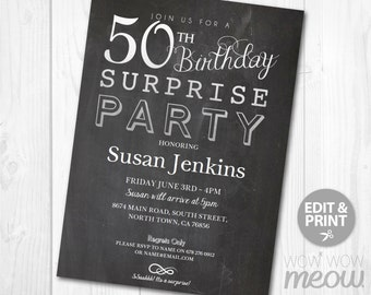 SURPRISE 50th Birthday Invitations Elegant Silver Party Invite 50 Chalk FIFTY Mens Womens Instant Download Editable Printable Personalize