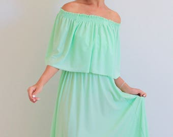 Bridesmaid dress / Mint Off Shoulder With Ruffles Dress / Maxi Long Dresses/ Off Shoulder Maternity Dress