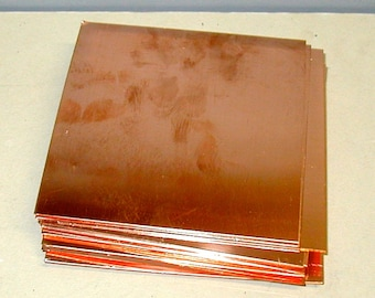 """6"""" x 6"""" Solid Copper Sheet Metal 12 pieces  16 ounce 22 gauge pure jewelry grade arts crafts"""
