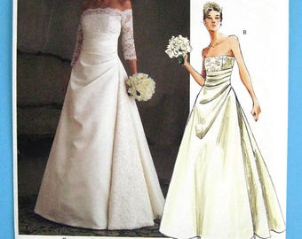 VOGUE 2842 Bridal Original pattern 2004 close fitting boned bridal gown size 6 to 10 FF uncut pattern