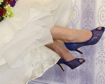 Blue Lace Wedding Shoes Blue Lace Bridal Shoes