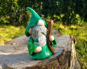 "Wizard, ""Fred"" Figurine, Polymer Clay Sculpture"