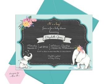 Elephant baby sprinkle invite, Baby boy baby Shower invitation, Elephant Baby Shower Invitation, Elephant Baby Shower It's a boy invite