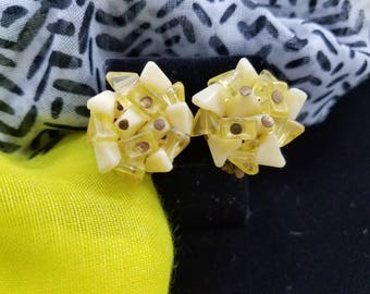 Yellow Beaded Clip Earrings With Clear & Opaque Beads from Hong Kong