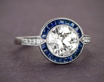 Estate Engagement Ring - Vintage 1.88ct Diamond and Sapphire Ring - Vintage Engagement Ring - Old mine cut diamond - Estate Diamond Jewelry