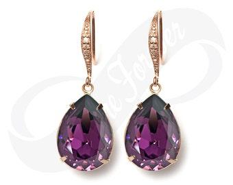 Rose Gold Bridesmaid Earrings Purple Earrings Amethyst Earrings Bridal Jewelry Bridesmaid Rose Gold Jewelry Bridal Jewelry Bridesmaid Gift