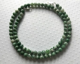 Tree Agate Small Stone Necklace, 4mm Green and White Tree Agate Stone Necklace, Short Necklace, Choker, Green Stone Choker Necklace