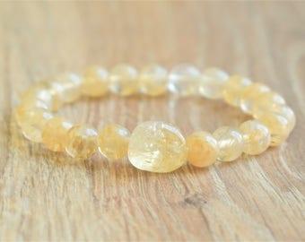 citrine bracelet natural citrine jewelry yellow bracelet solar plexus citrine bead bracelet citrine birthstone bracelet november birthstone