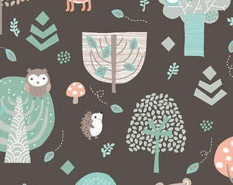 Little Forest - Animals in the Forest 22894 Brown Cotton Quilting Fabric by Half Yard - Quilt Bundle and Pattern in Bundle Section  - FWM