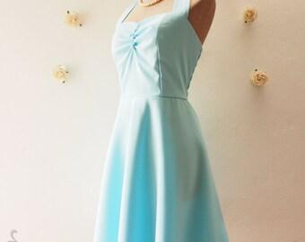 Baby Blue Cheap Bridesmaid Dress Casual Dress Blue Party Dress Vintage Halter Dress Rockabilly 50s Summer Blue Retro Dress- XS-XL, Custom