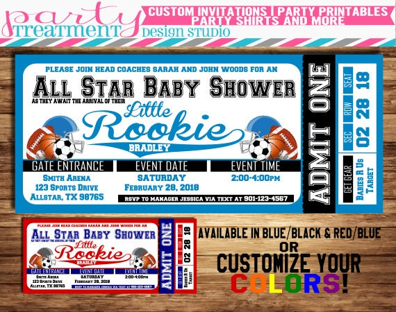 All star sports baby shower ticket invitation allstar baby like this item filmwisefo Image collections