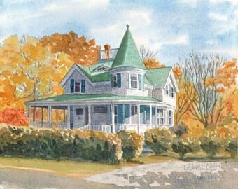 Autumn, Fall house, Wedding gift, Custom house portrait, Watercolor house painting, Hand painted, custom gift, 5x7, 8x10, 9x12, 11x14