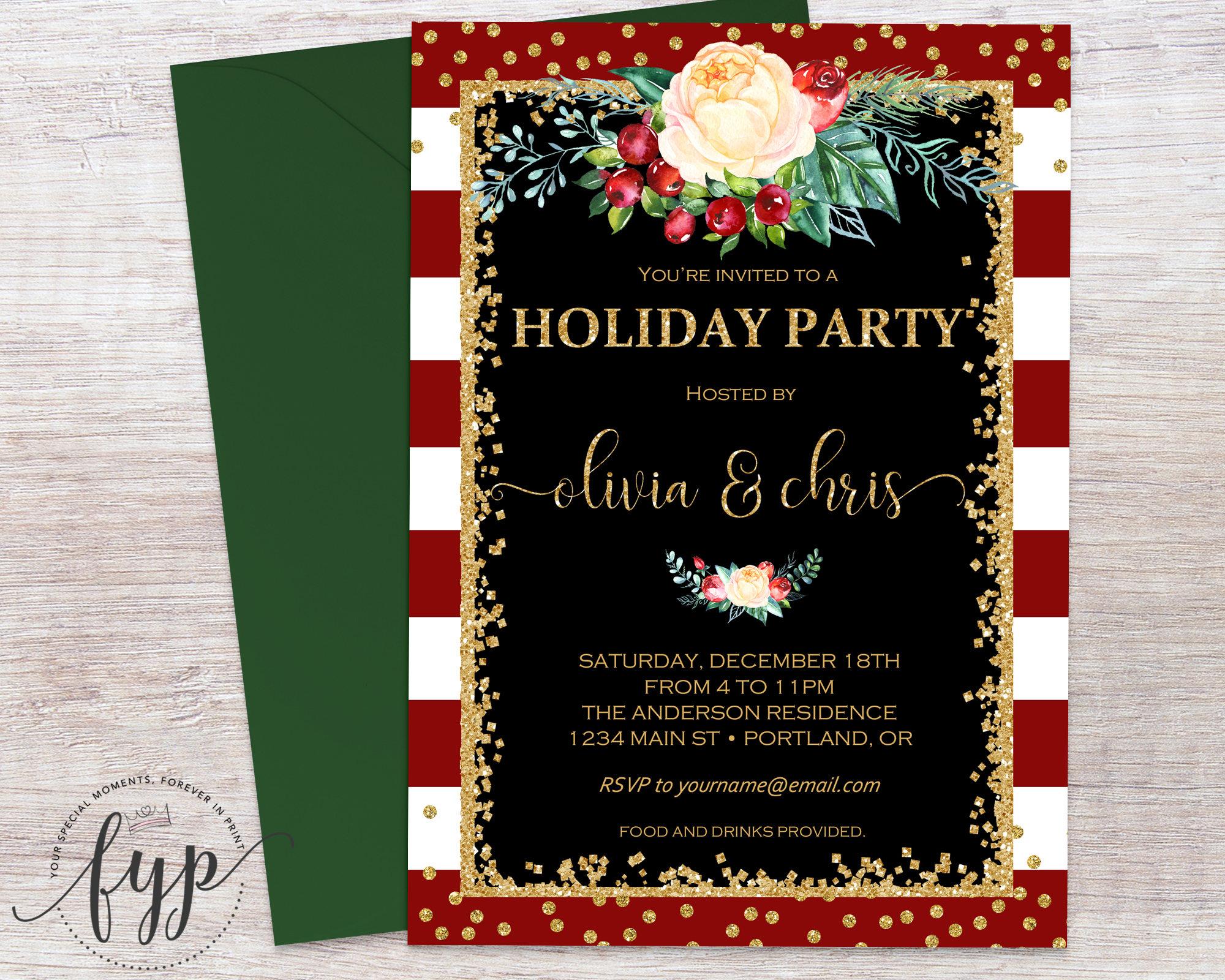 Holiday Party Invitation Christmas Party Invitation Staff
